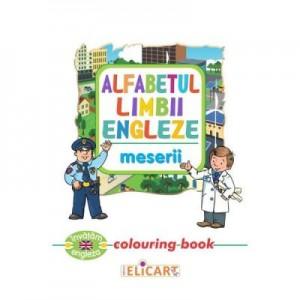 Alfabetul limbii engleze. Meserii. Colouring Book