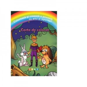 Coloreaza si creeaza o poveste cu arici si iepurasi!