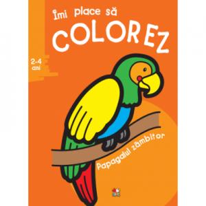 Imi place sa colorez. Papagalul zambitor (2-4 ani)