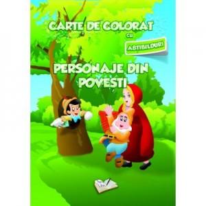 Carte de colorat cu abtibilduri. Personaje din Poveste