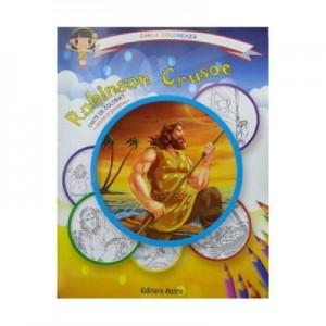 Robinson Crusoe: carte de colorat + poveste. Carla coloreaza